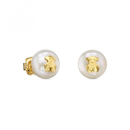 TOUS Sweet Dolls Freshwater Cultured Pearl and Gold Bear Stud Earrings