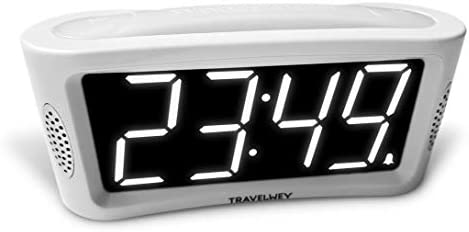 Digital Alarm Clock - No Frills Simple Operation, Large Night Light, Alarm, Snooze, Brightness Dimmer, Big Digit Display (White)