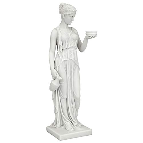 Design Toscano Hebe Greek Goddess of Youth Figurine Statue, Small, 11 Inch, Bonded Marble Polyresin, White