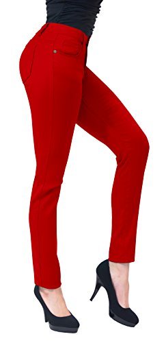 Women's Skinny Fit Stretch Twill Pant-P19416SKX-RED-24
