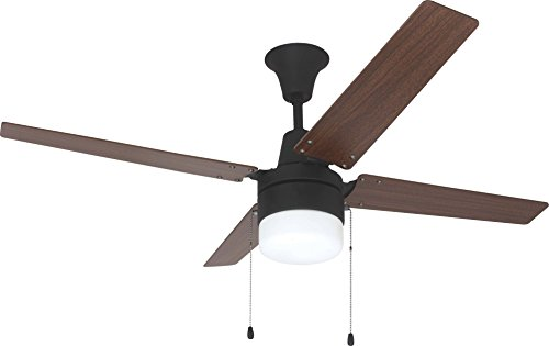 Golden Bronze Light Kit - Litex E-UBW48ABZ4C1 Wakefield Collection 48-Inch Ceiling Fan with Four Reversible Golden Maple/Mahogany Blades and Single Light Kit with frosted Glass