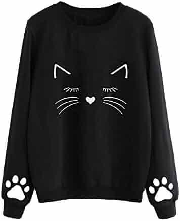 36e5f157e Women's Novelty Sweatshirts, Women Autumn and Winter Cat Weater Round Neck Long  Sleeve Regular Blouse