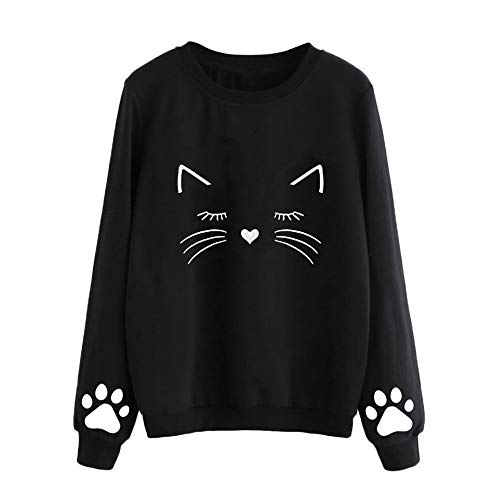 Clearance Fothery Womens Casual Pullover Sweatshirt Cat Print Tunic Tops Shirt(Black, US Size S = Tag -