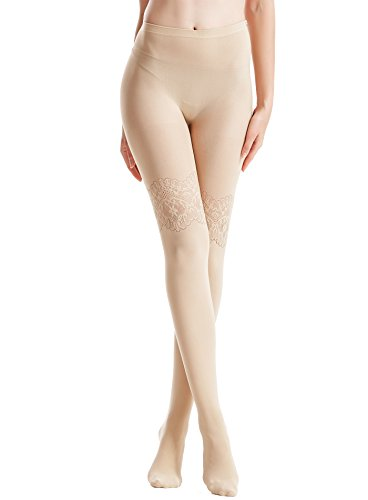 96108137e53c8 Zeraca Women's 80 D Sheer to Waist Pattern Footed Opaque Tights 1 or 3 Pack