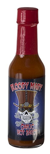 Hot Sauce By Bloody Mary - Hottest Chilli Pepper Sauce - Add Unique Flavors To Your Meals - Unique Skull Label Bottle - Ideal Gift For Cooking Enthusiasts (Garlic) 5 Oz