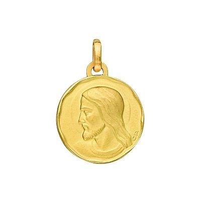 So Chic Bijoux © Pendentif Mixte - Or Jaune 375/000 (9 carats) 1,05gr - Diamètre: 15mm (hors bélière) - Médaille Ronde Satinée Jésus Christ de Profil Entourage Lissé