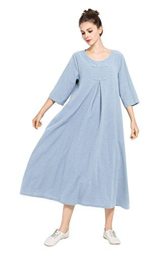 Robe Printemps Été Anysize Linge Doux Et Robe Maxi Coton Taille Plus Des Vêtements F120a Bleu Clair