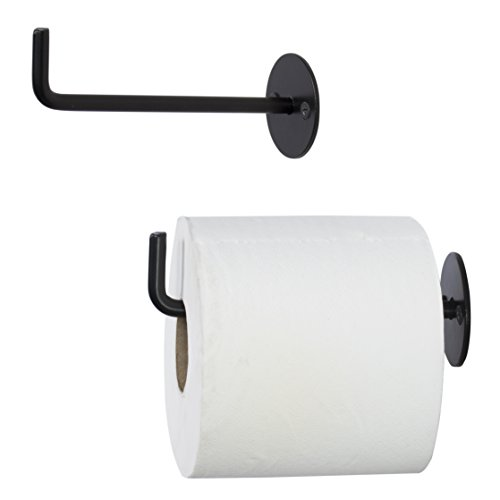 Wallniture Wrought Iron Toilet Paper Roll Holder - Wall Mounted 5.5 Inches Black Set of 2 (Holder Wall Toilet Roll)