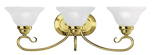 Polished Brass Three Light Vanity - Bathroom Vanity 3 Light with White Alabaster Glass Polished Brass Size 27 in 300 Watts - World of Crystal