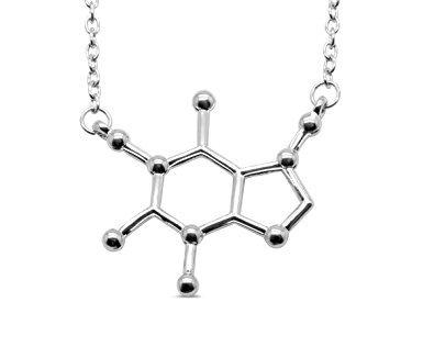 Caffeine Molecule Pendant with Necklace MlQKZ