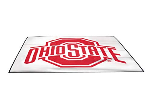 (Smart Design Collegiate Tailgate Picnic Mat - 9 x 9 Feet - Ohio State Team Design - Officially Licensed Logo - Scarlet & White Colors - [Ohio State Buckeyes])
