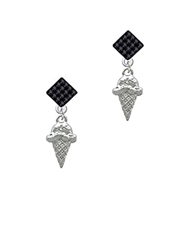 Ice Cream Cone - Black Lulu Diamond-Shaped Earrings - Black Diamond Cones