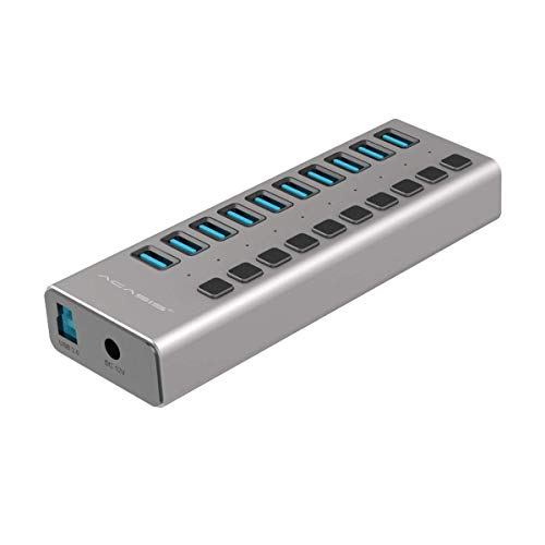 USB 3.0 Hub with Power Adapter and Charging Port & Individual Power Switches for Windows Vista/7/8/10; MacOS-8/9/X, Unix, Linux,10 Port,Gray