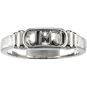 Mens Sterling Silver Jesus, Mary and Joseph Ring, Size 8