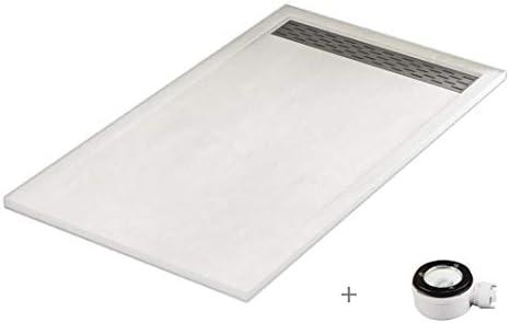 Plato ducha resina antideslizante textura pizarra Lane Bricodomo 80x150 Blanco: Amazon.es: Bricolaje y herramientas