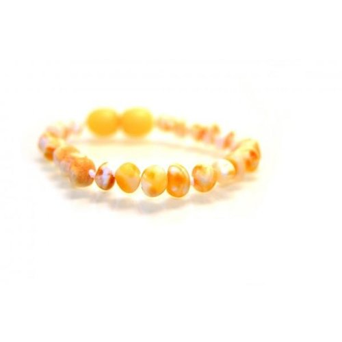 (The Art of Cure Original Baltic Amber Bracelet- Polished Handmade (Raw Yellow) for boy or girl – 5-5.5 Inches size)