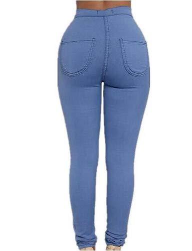 Blue pour Skinny Taille Jeans Solide Haute Femme Pantalon YFLTZ 7Bq8wtxwf
