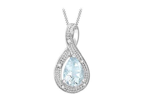 Or blanc 9carats Diamant et Aigue-marine Pendentif-Croix sur -