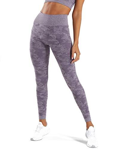 MOYOOGA Camo Seamless Leggings for Women High Waisted Gym Workout Capri Yoga Pants Athletic Tights Tummy Control Compression (Medium, Lavender Grey)