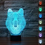 3D Animal Wolf Night Light 7 Color Change LED Table Desk Lamp Acrylic Flat ABS Base USB Charger Home Decoration Toy Brithday Xmas Kid Children Gift