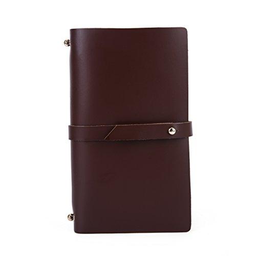 UBaymax Women Reddish Brown Oil Real Leather Refillable Planner,Handmade Organiser Travel Secret Girlish Diary Journal For Girls