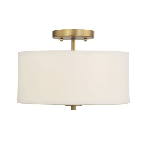 251 First Selby Natural Brass Two-Light Semi Flush Mount with White Fabric Shade