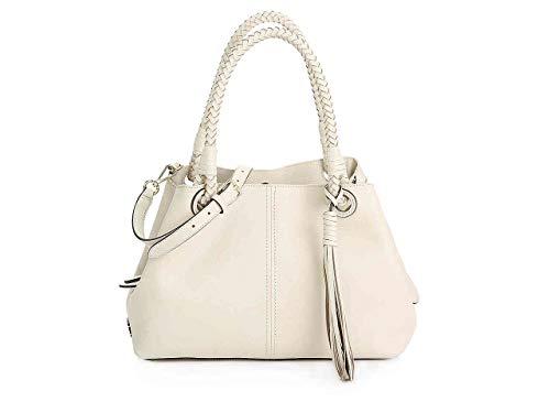 Cole Haan Top Zip Satchel - Cole Haan Tassel Leather Shoulder Bag (Bone)