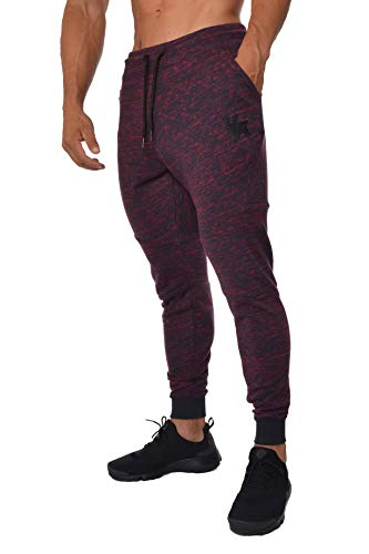 YoungLA French Terry Cotton Sweatpants Jogger Pants 2-Tone Red/Navy Small -