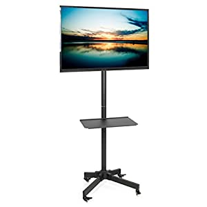 """VIVO Mobile TV Cart for LCD LED Plasma Flat Screen Panel Trolley Floor Stand with Locking Wheels 