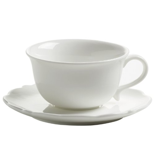 White Saucer Rose - Maxwell & Williams White Rose, Cup for Espresso with Saucer, for Coffee, White, JX76500