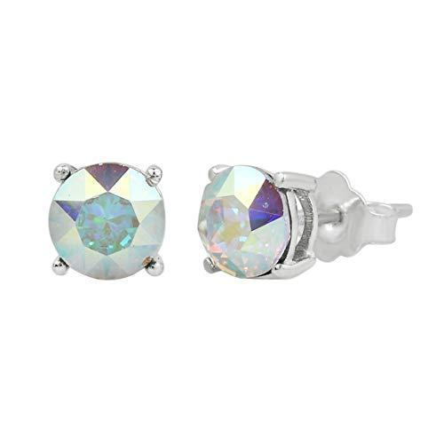 (Swarovski Earrings, GLIMMERING Birthstone Swarovski Stud Earrings for Women, Swarovski Crystal Earring Studs with Certificate and Warranty, Hypoallergenic Stud Earrings (Aurora Borealis))