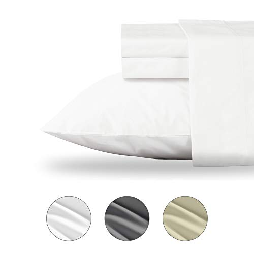 (Organic Cotton Twin XL Sheet Sets (3pc, Pure White) - Hypoallergenic Premium Cozy Collection Bedding 100% Natural Cotton Fiber -Cool Crisp GOTS Certified Fabric - 1 Fitted Sheet, 1 Flat, 1 Pillowcase)
