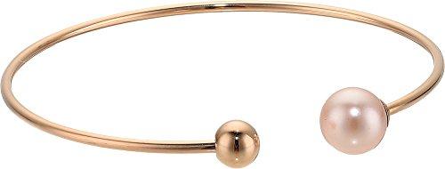 Round Pearls Bracelet Bangle (8MM Round Pink Pearl Titanium Bangle Bracelet)