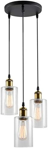 VILUXY Vintage 3 Light Glass Pendant Light Classic Cluster Chandelier Hanging Lighting Fixture