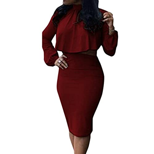 VOGRACE Womens High Neck Cloak Cape Top Bodycon Skirt 2 Pieces Outfit Dress M Wine Red