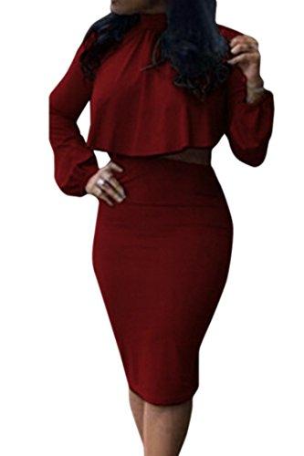 Women's High Neck Cloak Cape Top Bodycon Skirt 2 Pieces Outfit Dress L - Club Skirt Set