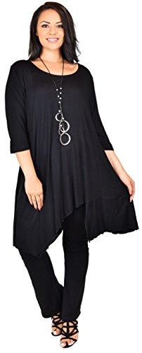 Plus Size Dresses Designer - Dare2bStylish Women Plus Size Asymmetrical Long Tunic Shirt Dress Top (5X/6X, Black)