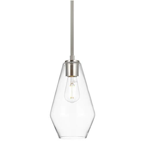 Giada Modern Hanging Pendant Light | Brushed Nickel Pendant Lighting for Kitchen Island, Long Clear Glass Shade LL-P644…