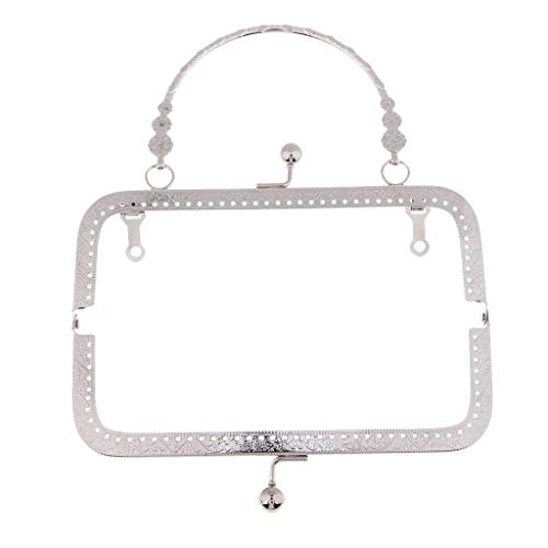 - Square Metal Purse Frame Handle for Clutch Bag Accessories Making Clasp Lock | Color - Silver