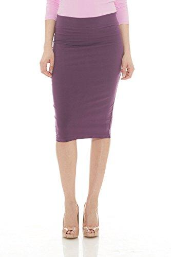 Esteez Womens Modest Lightweight Cotton Lycra Knee Pencil Skirt Plum Medium