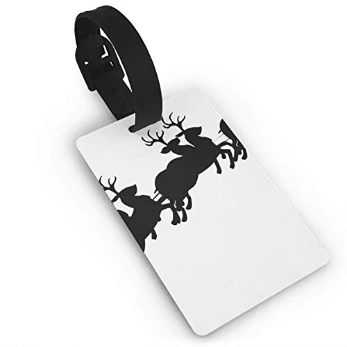 ASUIframeNJK Luggage Tags for Travel Santa Sleigh Silhouette Image Luggage Bag Tags Travel ID Identification Labels Set for Bags & Baggage Size 2.2 X 3.7 inches -