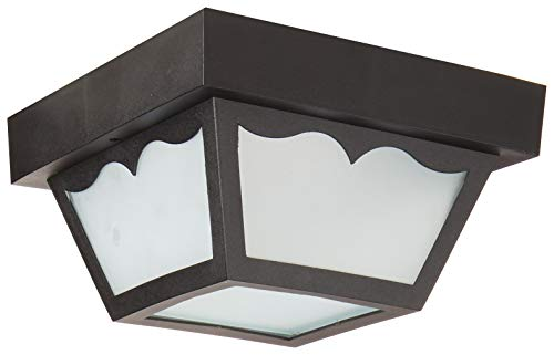 Nuvo SF77/863 Poly Frame Carport Flush Mount with Frosted Acrylic Panels, Black, Small