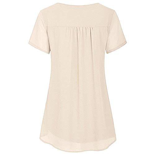 Courtes Jeune Kaki Tops Elgante Tunique Shirt Manches Mode Mousseline Unicolore Spcial Dsinvolte Blouse Et Vintage Large Femme Haut Rond Style Col UEzzTn