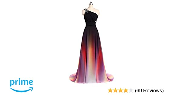 ANGELA One Shoulder Ombre Long Evening Prom Dresses Chiffon Wedding Party  Gowns at Amazon Women s Clothing store  3a41812b9380