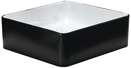 BoPin バスルームの洗面台、ホームカウンタ流域(タップ無し)小技術流域単一流域上記方形セラミック、利用可能な3色 ベッセルシンクシンク (Color : Black)