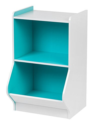 IRIS 2-Tier Storage Organizer Shelf with Footboard, White and Blue (Oak Low Bookcase)