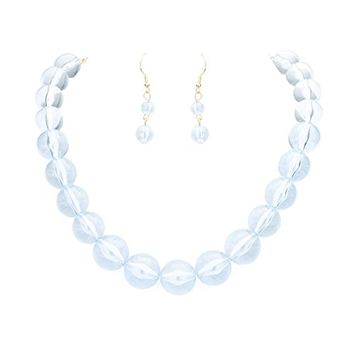 "Chunky See Through Transparent Light Blue Lucite Acrylic Bubble Bead Necklace 18"" Long w/Dangle Earrings"