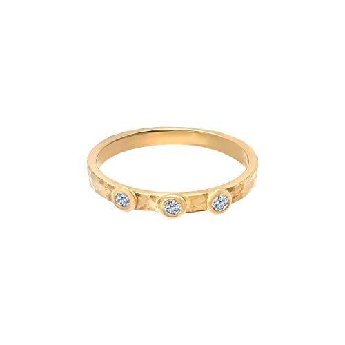 Tousi Three Diamond Rings - Solid 14k or 18k Yellow Gold Hammered band Jewelry for Women- Free Personalized and Engraved Name and Initial or Message