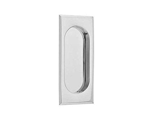 Emtek 2201 4 Inch High Solid Brass Rectangular Flush Pull for Sliding Doors, Polished Chrome