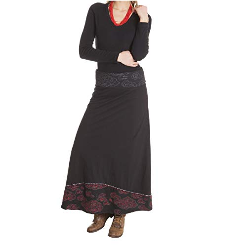 LE ORANGE MOON Jupe Femme Longue - Unie/Imprime - Noir - Jersey de Coton - S/M